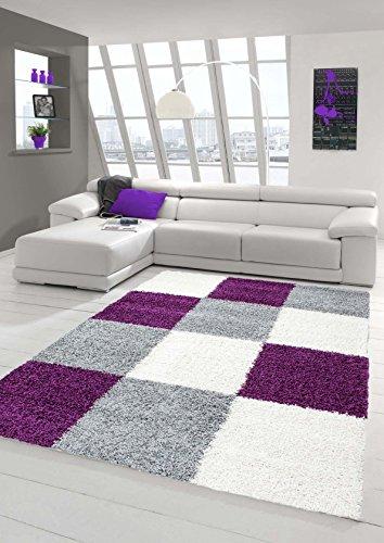 Shaggy Teppich Hochflor Langflor Teppich Wohnzimmer Teppich Gemustert in Karo Design Lila Grau Creme Größe 120x170 cm