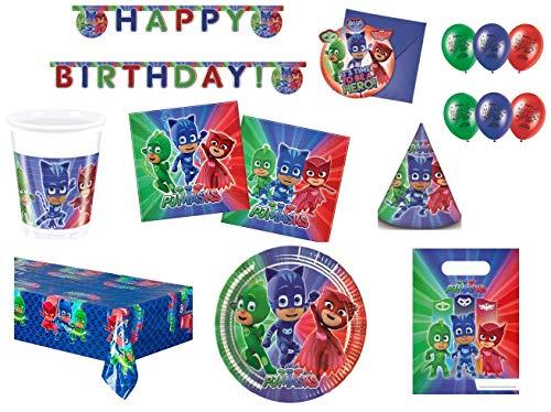 BIGIEMME S.R.L. Coordinato per Feste e Compleanni a Tema pj Mask pigiamini (Piatti-Bicchieri-tovaglia-tovaglioli-Festone-inviti-Palloncini-Sacchetti per Feste-Cappellini)