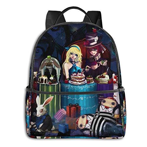 Alicia en el país de las maravillas, bolsa de estudiante, unisex, con dibujos animados, impreso, mochila escolar de 14,5 x 30,5 x 12,7 cm