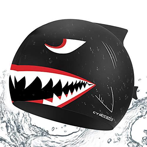 CybGene Hai Silikon Badekappe für Kinder unter 10 Jahren, Jungen, Mädchen, Badekappen für die Schwimmstunde - Schwarzer Hai