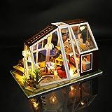 Puppenhaus Miniatur DIY Haus, Miniaturhaus Bauen In Kit Mini Holzhaus Mit Licht Spielzeug Dekoration Dekoration Puppy Zubehör