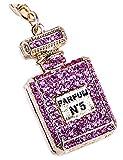Lyhouse Artificial Perfume Bottle Inlay Rhinestone Key Chain for Keys Women\s Bag