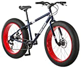 Mongoose Dolomite Fat Tire Mountain Bike, Featuring 17-Inch/Medium High-Tensile Steel Frame, 7-Speed Shimano Drivetrain, Mechanical Disc Brakes, and 26-Inch Wheels, Navy Blue