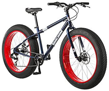 Mongoose Dolomite Mens Fat Tire Mountain Bike 26-inch Wheels 4-Inch Wide Knobby Tires 7-Speed Steel Frame Front and Rear Brakes Navy Blue