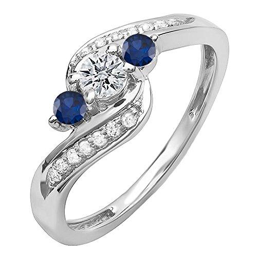 DazzlingRock Collection 18k Oro Redondo Azul Zafiro y Diamantes Mujer Remolino Compromiso 3 Piedra Anillo Nupcial 7