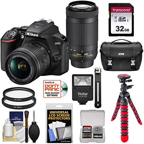 Nikon D3500 Digital SLR Camera & 18-55mm VR & 70-300mm DX AF-P Lenses with 32GB Card + Case + Flash + Tripod + Kit
