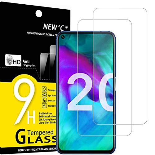NEW'C Lot de 2, Verre Trempé Compatible avec Honor 20, Honor 20 Pro Film Protection écran sans Bulles d'air Ultra Résistant (0,33mm HD Ultra Transparent) Dureté 9H Glass