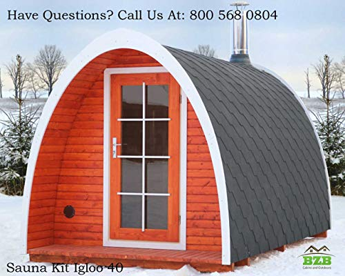 BZBCabins.com Barrel Sauna Kit Igloo 40, 8 Person Outdoor Sauna with Harvia M3 Wood Burning Heater