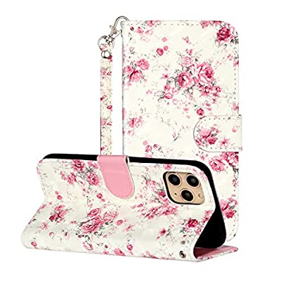 """3D Wallet Case for iPhone 11 Pro Max 6.5"""",Aoucase Ultra Slim Strap Fancy Painted Magnetic PU Leather Soft Silicone Card Slot Stand Case with Black Dual-use Stylus,Pink Flower"""