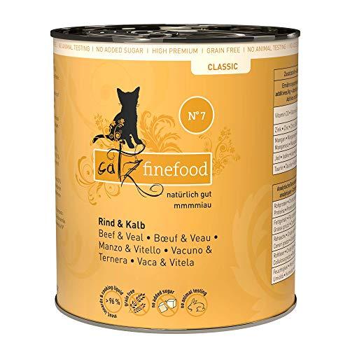 catz finefood N° 7 Rind & Kalb Feinkost Katzenfutter nass, verfeinert mit Aprikose & Ananas, 6 x 800g Dosen
