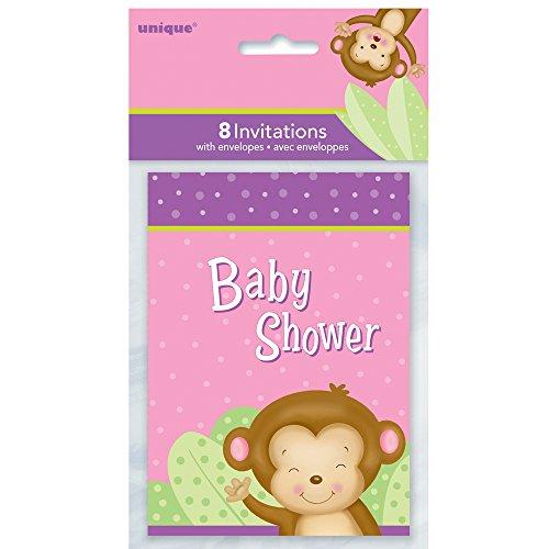 Unique Party Supplies Mädchen Monkey Baby Dusche Einladungen, 8Stück