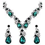 BriLove Wedding Bridal Necklace Earrings Jewelry Set for Women Multi Teardrop Cluster Crystal Statement Necklace Dangle Earrings Set Emerald Color Silver-Tone