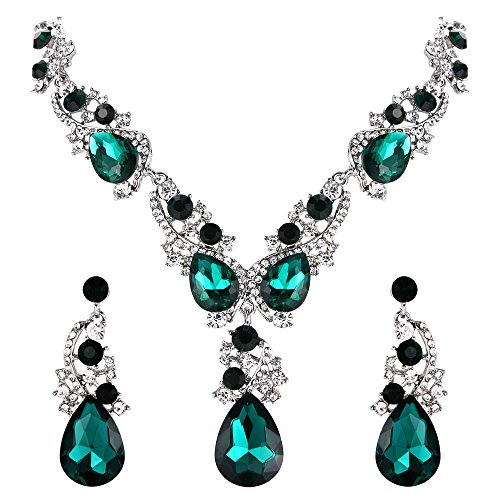 BriLove Wedding Bridal Necklace Earrings Jewelry Set for Women Multi Teardrop Cluster Crystal Statement Necklace Dangle Earrings Set Emerald Color Silver-Tone