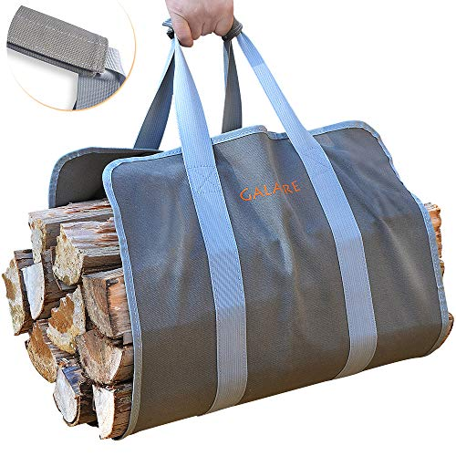 GALAFIRE Wood Carrier for Firewood with Handles, Canvas Firewood Sling Premium Quality Foldable 16oz Heavy Log Tote