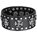 Aoiy Men's Metallic Fleur-de-lis Cross Leather Cuff Bracelet, Ajustable, Snap Button, Black,...
