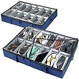 storageLAB Under Bed Shoe Storage Organizer, Adjustable Dividers - Set of 2, Fits 24 Pairs Total - Underbed Storage Solution (Navy Blue)