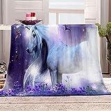SHOMEY Manta para Sofás de Franela Unicornio 130x150 cm Manta Extra Suave para Cama Manta Microfiber Transpirable Manta Calentita, Lavado en Máqui, decoración del hogar