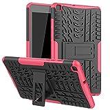 ASDL Caja de la Tableta Inteligente for la lengüeta Un 8,0 (2019) SM-T290 / SM-T295, híbrido de Doble Capa de Armadura Pata de Cabra 2 en 1 Cubierta del Soporte a Prueba de Golpes (Color : Rosado)