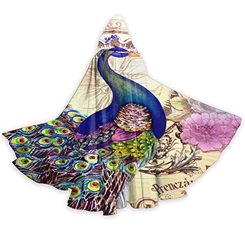 Vintage Colorful French Peacock and Flowers Hooded Cloak Adult Fashion Hoodie Cape with Hood for Halloween Christmas Robe Cosplay Costumes
