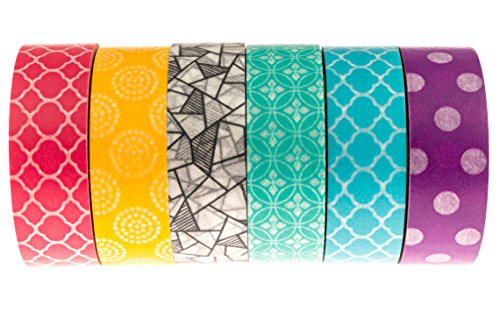 Premium Japanese Washi Tape (Set of 6) — Rainbow Decorative Patterned Paper for Scrapbooking, Crafts, and DIY Projects — Crafters Tape — Six Unique Colors — Best Masking Tape for Crafting