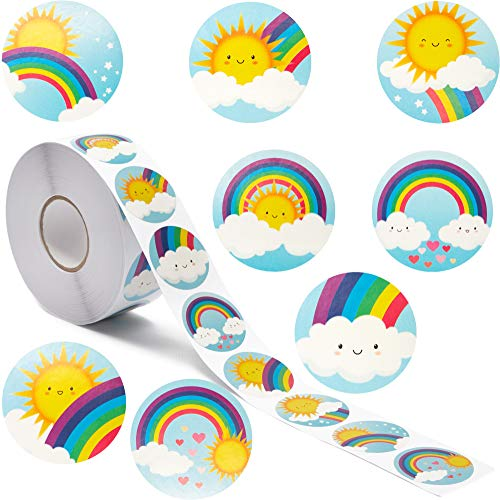 Blue Panda Rainbow and Sunshine Stickers for Kids (1.5 in, 8 Designs, 1000 pcs)