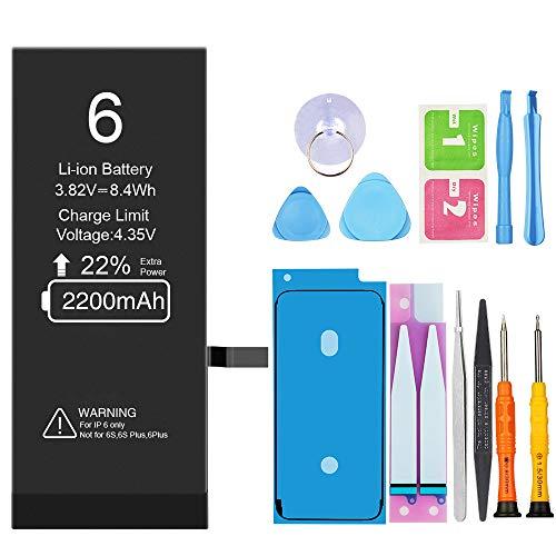 Vancely Akku für iPhone 6 2200mAh, Ersatzakku mit hoher Kapazität, mit Werkzeugset und Reparaturset Akku-Austausch Anleitung, Kompatibel mit Apple,Garantie 2 Jahr 100%