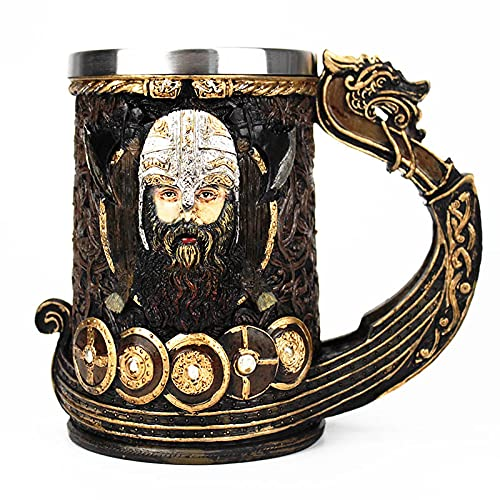 Taza de cerveza ZWRY Drakkar Viking Tankard Mug 304 acero inoxidable inserto resina Nordic God Odin Beer Mugs Cup Halloween Gift 600ml 1pcs