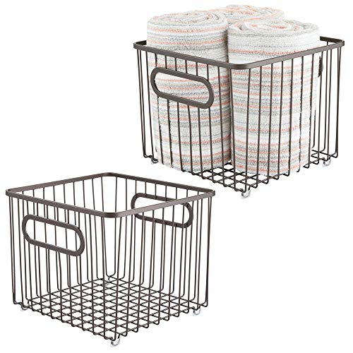 MDesign Juego 2 cestas almacenaje metal asas integradas