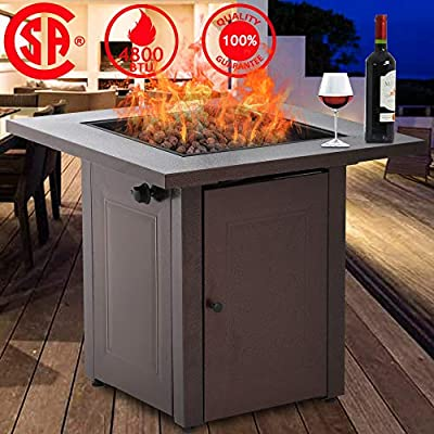 Fire Pit, Propane Gas Outdoor Firepit Portable Table Fire Pit with Lava Rack Burner, 48,000 BTU Square Tabletop Fireplaces, CSA Certification, for Deck Patio Backyard Garden Camping, Antique Bronze