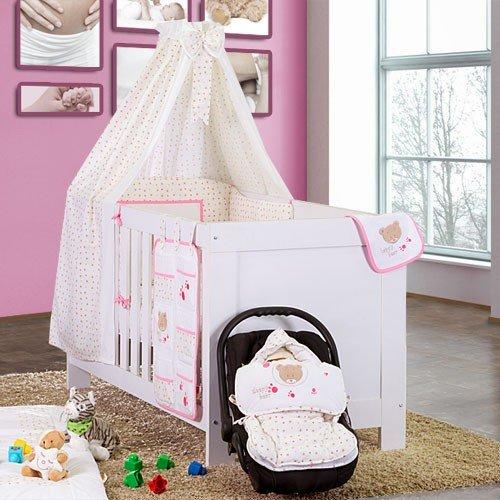 Juego de cama para bebé Saco de dormir Saco para gatear cama de funda Babero cambiador rosa Bettset