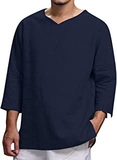 Men's Hippie Shirts Long Sleeve Soft Linen Summer Lightweight Beach Yoga T-Shirts Tops by PERSOLE