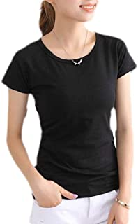 Loyomobak Women Solid Color Round Neck Short Sleeve Tee Slim Fit Blouse T-Shirts Tops