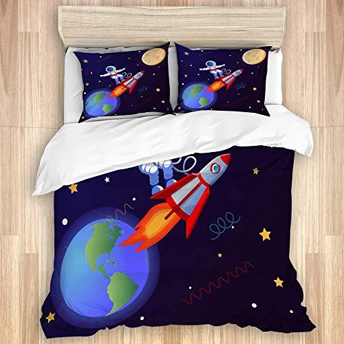 Juego de funda de edredón de 3 piezas, astronauta surfeando con un cohete en los planetas de la galaxia, estrellas de cohete de astronauta, tierra y luna, juegos de fundas de edredón para dormitorio,