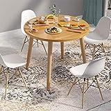 Yuanyan Mesa de comedor de cocina de madera, mesa de centro redonda, multifuncional, para conferencias, mesa de oficina, resistente, con 4 patas, montaje sencillo y tablero de fibra de densidad media