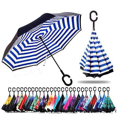 Sumeber Double Layer Reverse Regenschirm mit C Griff Schützen vor Sturm Wind Regen und UV-Strahlung Innovativer Regenschirm (Blue Strips)