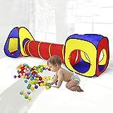 YANXS Spielzelt Kinderzelt Babyzelt mit krabbeltunnel 3-Teiliges Bällebad Spielhaus mit Zelt Tasche...
