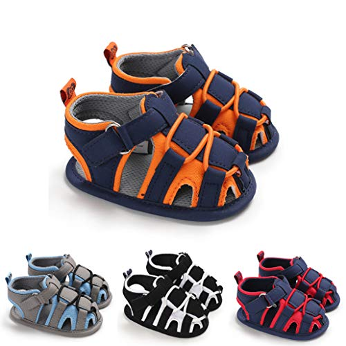 Greceen Baby Boys Girls Summer Sandals Closed-Toe Soft Sole Non-Slip First Walker Shoes(LX106 Orange 13)