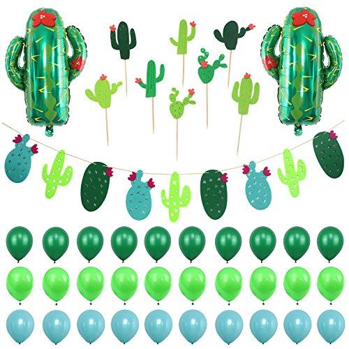 Simla Decor Cactus Party Decorations Set - Cactus Foil Balloons Baby Shower Cactus Felt Bunting Banners Garland Succulent Cactus Cupcake Toppers