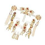 Sharplace 9 Pièces Coiffure Chinois Ancien Costume Coiffure de Mariée Accessoires de Mariage Couronne d'Ornements