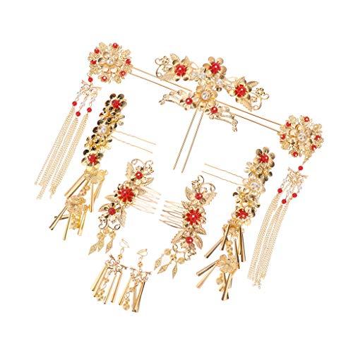 Baoblaze 1 Satz Hochzeit Haarnadel Haarkamm Ohrringe Haarschmuck, Braut Kostüm Kopfschmuck Chinesischen Rot