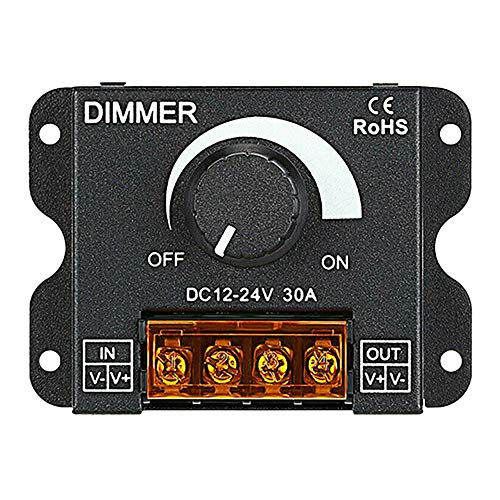 Didad Ajustador de Luz LED 12-24V 30A / Sin Luz EstroboscóPica con Interruptor de Perilla Barra de Luz LED Regulador de Brillo Regulador