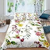 Funda de edredón con 2 fundas de almohada para adolescentes y adultos, color amarillo y rosa natural, transpirable, 3 piezas, funda decorativa para cama