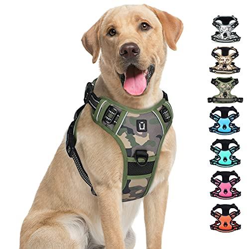 Arnés para perro sin tirón,clip frontal para mascotas arnés con 4 hebillas,reflectante ajustable acolchado suave para mascotas, mango de fácil control para perros pequeños,medianos y grandes g