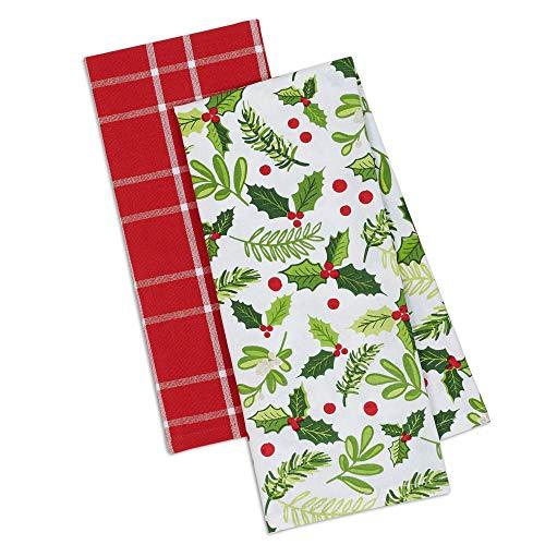 DII Christmas Dishtowel Decorative Oversized, Set of 2, Boughs of Holly