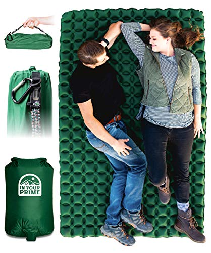 In Your Prime Double Sleeping Pad | Backpacking & Camping Bed | Ultralight (35.6oz) Portable car, Tent, Truck Mattress | 2 Person mat | Includes Pump Sack, Paracord Bracelet, & Carabiner