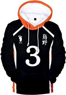 AQBZFHJ Haikyuu Hinata Shoyo Cosplay Adult Hoodies Costume Volleyball Sweatshirt Jumper for Women Men