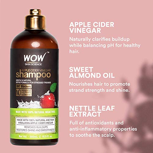 WOW Apple Cider Vinegar Shampoo and Coconut Avocado Conditioner Set With Activated Charcoal Shampoo Bundle Kit - Restore Dry, Damaged Hair & Increase Moisturization - All Hair Types