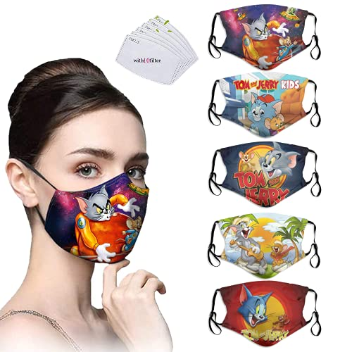 Tom and Jerry Face Masks,Cloth Face Mask Reusable Washable Children Toddler Masks Adjustable Masks for Adults Men Women 5PCS with 10 Filters Made in USA
