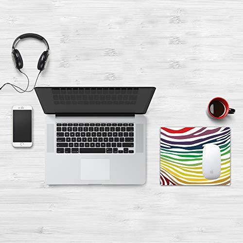 Comfortable Mouse Pad 32x25 cm,Estampado de cebra, patrón de rayas de cebra colorido en vítores Color del arco iris,Base de Goma Antideslizante Wipe Washable para Gamers Ordenador, PC y Laptop32x25 cm