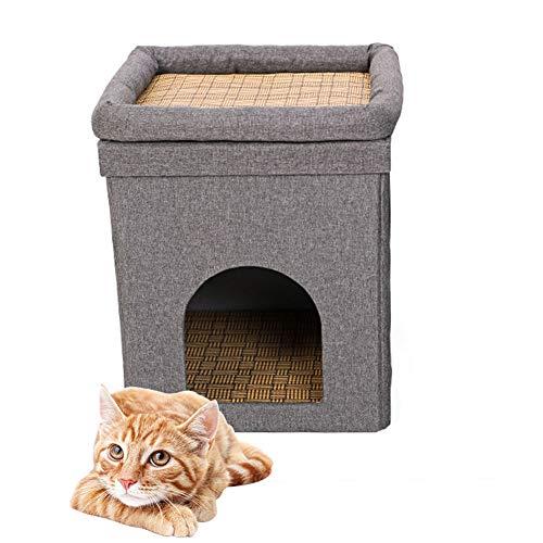 HIMA PETTR Gezellig Huisdier Huis Grijs Stapelbed, met Seizoenen Afneembaar Wasbaar, Voor Kitten Comfortabele Rust